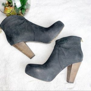 STEVEN 8 Dark Gray Leather Booties Wood Heel